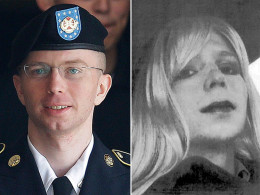 Image: Army Pfc. Bradley Manning wearing his uniform, left, and wearing a wig, right.