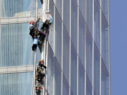 Image: Greenapeace activists climb The Shard in London to protest Shell's oil drill in Arctic