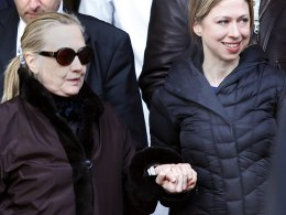 Image: U.S. Secretary of State Hillary Clinton leaves New York Presbyterian Hospital.