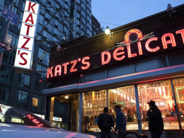 Image: Outside of Katz's Delicatessen on the Lower East Side in New York.