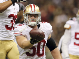 Image: File photo of San Francisco 49ers inside linebacker Chris Borland celebrating after a fumble by New Orleans Saints