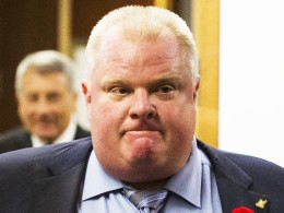Image: Toronto Mayor Ford reacts to a video released of him by local media at City Hall in Toronto