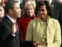 Barack Obama is sworn in during the inauguration ceremony in Washington