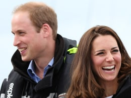 Image: Britain's Prince William and his wife Catherine prepare to sail on Team New Zealand's America's Cup yachts