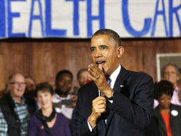 Image: U.S. President Barack Obama speaks about Affordable Health Care to volunteers at the Temple Emanu-El in Dallas