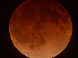 Image: The moon is shown in eclipse from Los Angeles, California