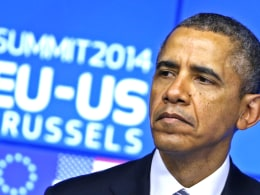 Image: U.S. President Barack Obama looks on as he takes part in a EU-US summit in Brussels