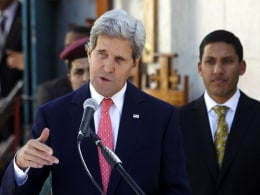 Image: US Secretary of State John Kerry visits West Bank