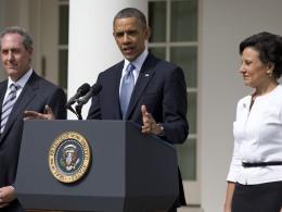 Image: Penny Pritzker, Michael Froman, Barack Obama