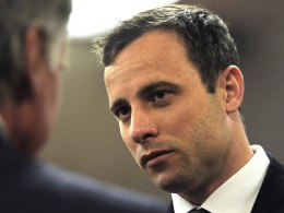 Image: Oscar Pistorius is pictured ahead of the final arguments of his murder trial