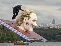 Image: A participant attempts to control his craft during the Red Bull Flugtag Russia 2013 competition