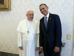 The Pope meets President Obama.