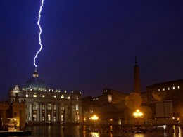 Image: Lightning strikes the basilica of St.Peter's during a storm
