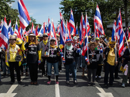 Image: Anti-government protesters take part in a march at parliament on November 29, 2013 in Bangkok, Thailand.