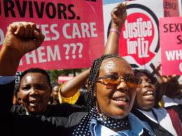 Image: Kenyans protest against police after alleged gang-rape