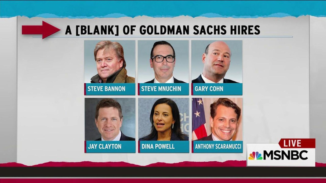 Trump adds sixth Goldman Sachs hire - what's the word for that ...