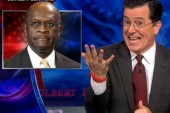 Colbert shows Cain how to rewrite scandals