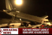 Jet's nose gear collapses during Newark...