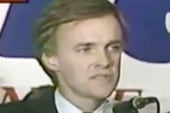 Bob Kerrey singing after Senate 1988 win