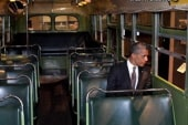 Obama sits in Rosa Parks' seat