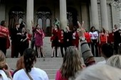 Thousands show up 'Vagina Monologues' rally