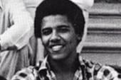 Young Obama's first public political speech