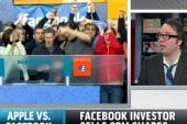 Apple rises, Facebook falls