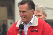 Romney pain: Trying to lead a crowd in a...