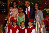 First family meets Santa's helpers