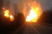 Massive gas line blaze caught on camera