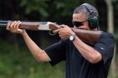 White House tweets Obama skeet shooting photo