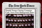 Trump turns to fundraising, downplays polls