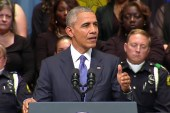 Obama, Bush offer healing words at memorial
