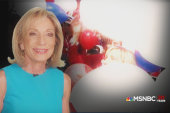 Andrea Mitchell and the RNC balloons