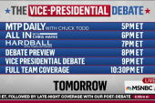 Vice presidential debate Tuesday, 9pm ET