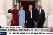 The Obamas welcome the Trumps at the White...