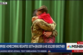 Surprise homecoming reunites sixth-grader...