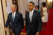Obama and Bush lay into Trumpian politics