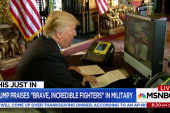 In message to troops, Trump praises, ...