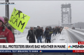 GOP tax bill protesters brave winter weather