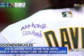#GoodNewsRUHLES: Khris Davis homers after kid signs jersey