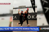 Legally blind teen completes Ironman triathlon