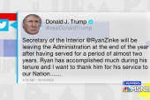 BREAKING NEWS: Secretary of Interior Ryan Zinke leaving Trump Administration