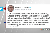 After dramatic search, Trump chooses Mulvaney as chief of staff