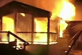 Homes destroyed by fire in earthquake