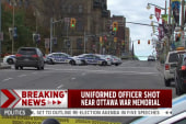 Officer shot near Canada war memorial