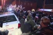 Protesters rock police car, rally in Ferguson