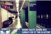 Snow causes subways to close