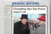 Groundhog takes a bite of mayor on live TV