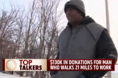$130K donated for man who walks 21 miles...